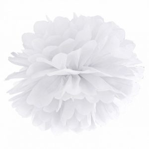 pom poms blomma vit Partydeco