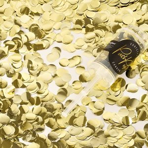 konfettikanon guld Partydeco