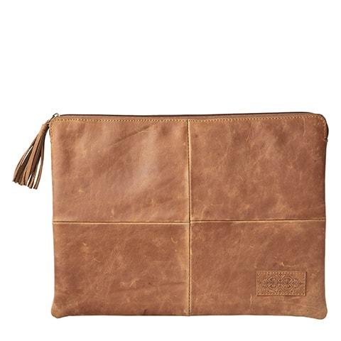 laptopväska Oxford ljusbrunt läder Affari of Sweden