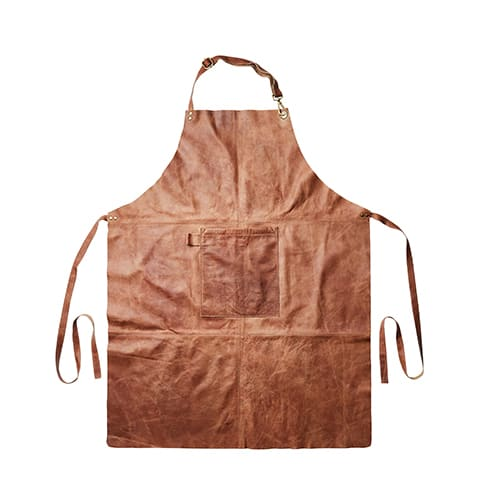 förkläde Oxford brun läder Affari of Sweden