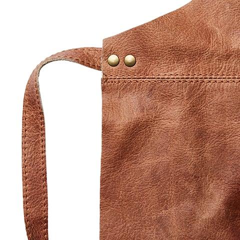 förkläde Oxford brun läder Affari